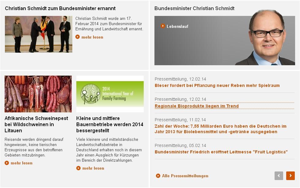 Schnelles Übergehen zur Tagesordnung. Die Website des Bundeslandwirtschaftsministeriums.