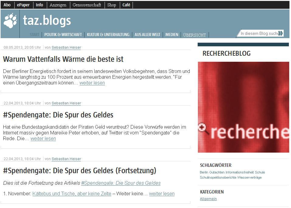 Taz Rechercheblog. Seit Mai 2013 kein Update mehr.