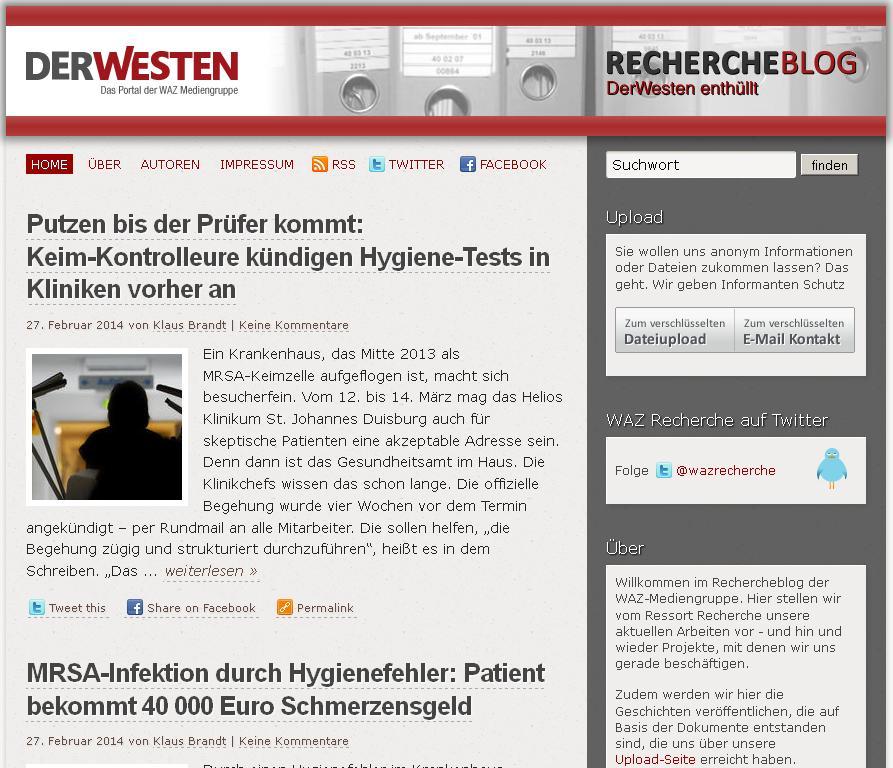 WAZ/Funke: Blog und Tippgeber-Portal in einem.