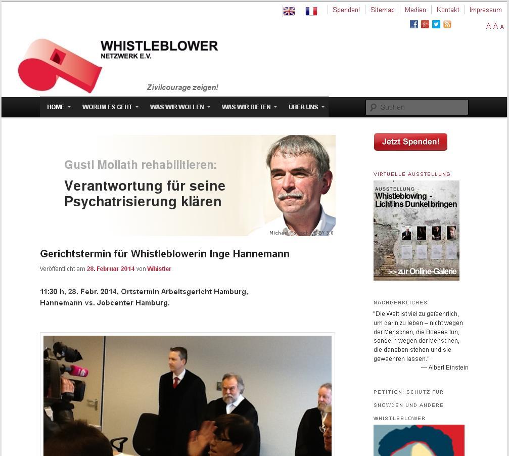 Der Verein Whistleblower-Netzwerk e.V. kümmert sich seit 2006 um Whistleblower.