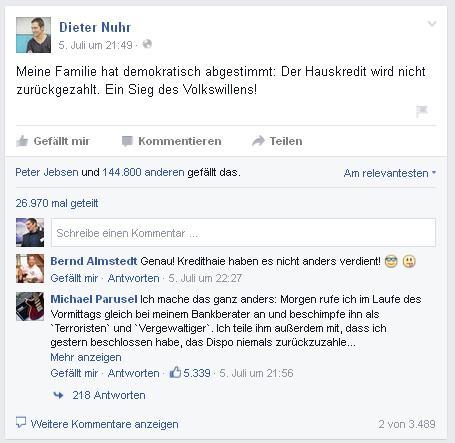 Gegen Griechenland-Referendum: Dieter Nuhr in der Kritik (Foto: Facebook).