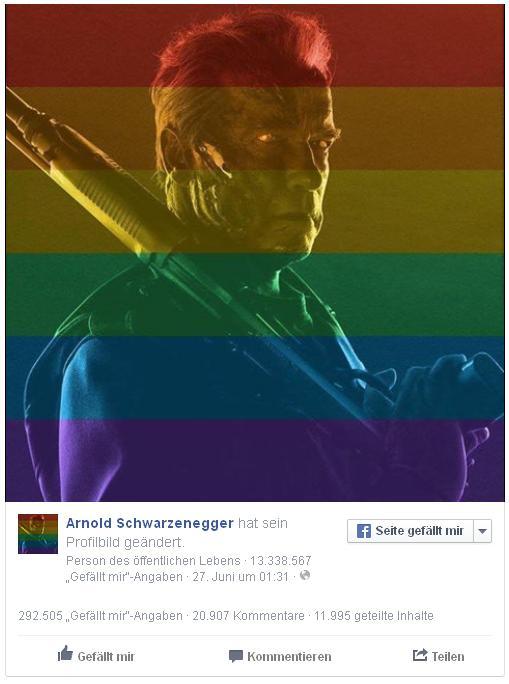 Arnold Schwarzenegger: Unterstützte die Homo-Ehe und verwirrte Fan (Foto: Facebook).